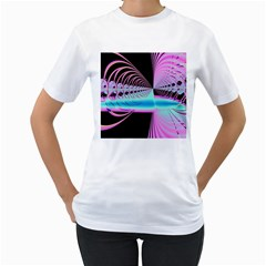 Blue And Pink Swirls And Circles Fractal Women s T Shirt (white) (two Sided)