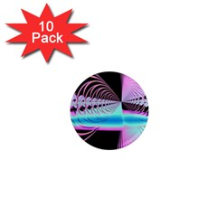 Blue And Pink Swirls And Circles Fractal 1  Mini Magnet (10 pack)