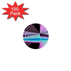 Blue And Pink Swirls And Circles Fractal 1  Mini Magnets (100 Pack)