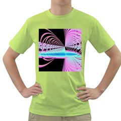 Blue And Pink Swirls And Circles Fractal Green T-Shirt