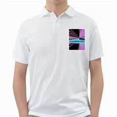 Blue And Pink Swirls And Circles Fractal Golf Shirts