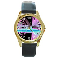 Blue And Pink Swirls And Circles Fractal Round Gold Metal Watch