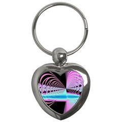 Blue And Pink Swirls And Circles Fractal Key Chains (heart)