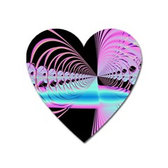 Blue And Pink Swirls And Circles Fractal Heart Magnet