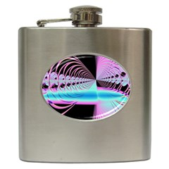 Blue And Pink Swirls And Circles Fractal Hip Flask (6 oz)