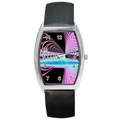 Blue And Pink Swirls And Circles Fractal Barrel Style Metal Watch