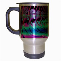 Blue And Pink Swirls And Circles Fractal Travel Mug (silver Gray)