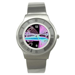Blue And Pink Swirls And Circles Fractal Stainless Steel Watch