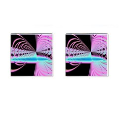 Blue And Pink Swirls And Circles Fractal Cufflinks (Square)