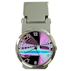 Blue And Pink Swirls And Circles Fractal Money Clip Watches