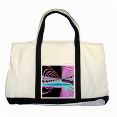 Blue And Pink Swirls And Circles Fractal Two Tone Tote Bag