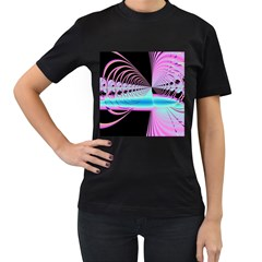 Blue And Pink Swirls And Circles Fractal Women s T-Shirt (Black)
