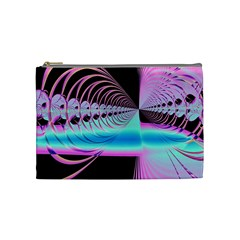 Blue And Pink Swirls And Circles Fractal Cosmetic Bag (medium)