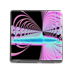 Blue And Pink Swirls And Circles Fractal Memory Card Reader (square)