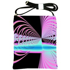 Blue And Pink Swirls And Circles Fractal Shoulder Sling Bags