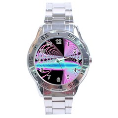 Blue And Pink Swirls And Circles Fractal Stainless Steel Analogue Watch