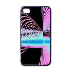 Blue And Pink Swirls And Circles Fractal Apple iPhone 4 Case (Black)