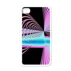 Blue And Pink Swirls And Circles Fractal Apple Iphone 4 Case (white)