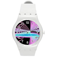 Blue And Pink Swirls And Circles Fractal Round Plastic Sport Watch (m)