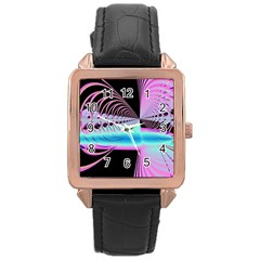 Blue And Pink Swirls And Circles Fractal Rose Gold Leather Watch