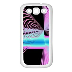 Blue And Pink Swirls And Circles Fractal Samsung Galaxy S3 Back Case (white)