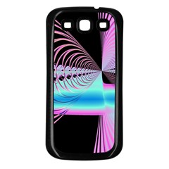 Blue And Pink Swirls And Circles Fractal Samsung Galaxy S3 Back Case (Black)