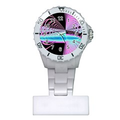 Blue And Pink Swirls And Circles Fractal Plastic Nurses Watch