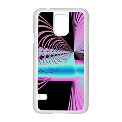 Blue And Pink Swirls And Circles Fractal Samsung Galaxy S5 Case (White)