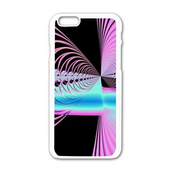 Blue And Pink Swirls And Circles Fractal Apple iPhone 6/6S White Enamel Case