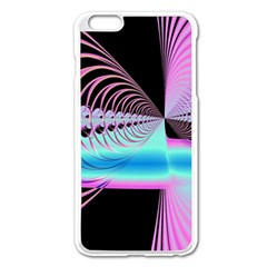 Blue And Pink Swirls And Circles Fractal Apple iPhone 6 Plus/6S Plus Enamel White Case