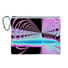 Blue And Pink Swirls And Circles Fractal Canvas Cosmetic Bag (l)