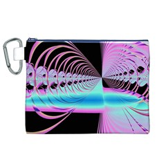 Blue And Pink Swirls And Circles Fractal Canvas Cosmetic Bag (xl)