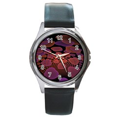 Heart Invasion Background Image With Many Hearts Round Metal Watch