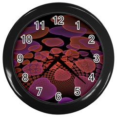 Heart Invasion Background Image With Many Hearts Wall Clocks (black)