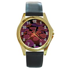 Heart Invasion Background Image With Many Hearts Round Gold Metal Watch