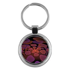 Heart Invasion Background Image With Many Hearts Key Chains (round)