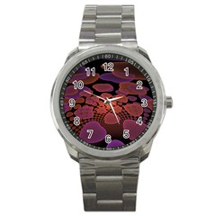 Heart Invasion Background Image With Many Hearts Sport Metal Watch