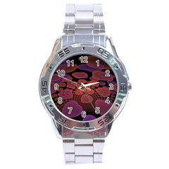 Heart Invasion Background Image With Many Hearts Stainless Steel Analogue Watch