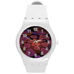 Heart Invasion Background Image With Many Hearts Round Plastic Sport Watch (M)