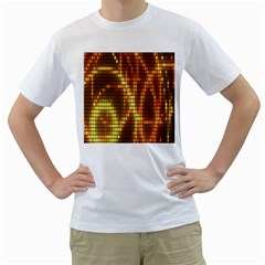 Circle Tiles A Digitally Created Abstract Background Men s T-Shirt (White) (Two Sided)
