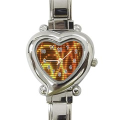 Circle Tiles A Digitally Created Abstract Background Heart Italian Charm Watch