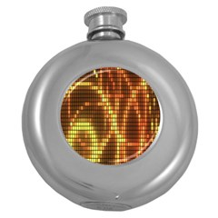 Circle Tiles A Digitally Created Abstract Background Round Hip Flask (5 oz)