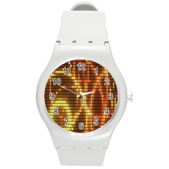 Circle Tiles A Digitally Created Abstract Background Round Plastic Sport Watch (M)