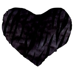 Skin3 Black Marble & Black Watercolor (r) Large 19  Premium Heart Shape Cushion