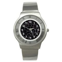 Skin1 Black Marble & Black Watercolor (r) Stainless Steel Watch