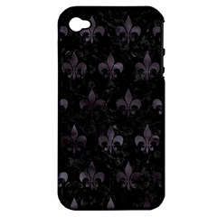 Royal1 Black Marble & Black Watercolor (r) Apple Iphone 4/4s Hardshell Case (pc+silicone)