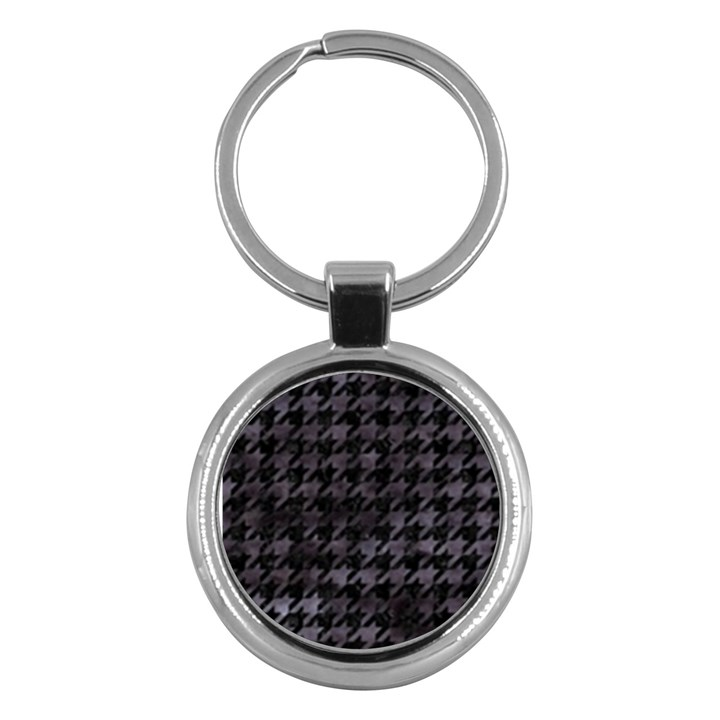 HOUNDSTOOTH1 BLACK MARBLE & BLACK WATERCOLOR Key Chain (Round)