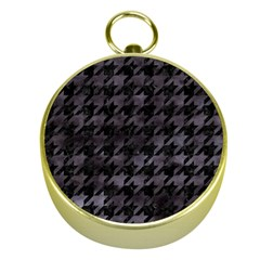 Houndstooth1 Black Marble & Black Watercolor Gold Compass