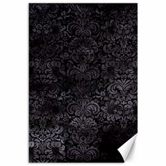 Damask2 Black Marble & Black Watercolor Canvas 12  X 18
