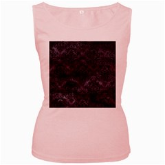 Damask1 Black Marble & Black Watercolor (r) Women s Pink Tank Top